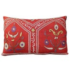 Image of Red Hand Embroidered Vintage Suzani Pillow