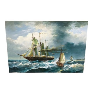 Vintage Oil on Canvas Ship Painting