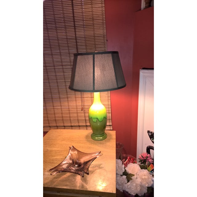 Mid-Century Green Glazed Pottery Table Lamp - Image 3 of 6