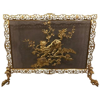 19th Century French Bronze in Chinoiserie Pattern Fire Screen
