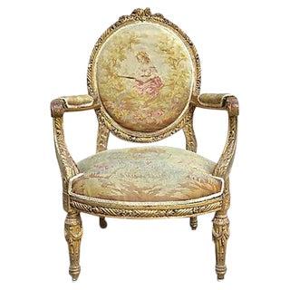 Charles X Antique Aubusson Fauteuil