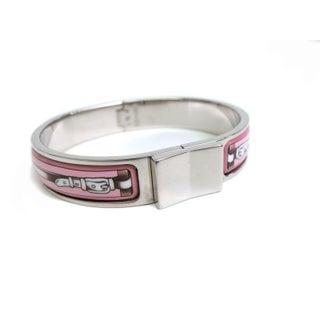 Hermes Pink Cloisonne & Silver Bracelet