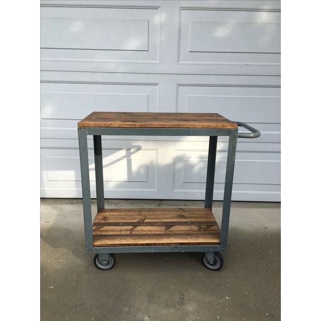 Vintage Industrial Metal & Wood Rolling Bar Cart - Image 2 of 4