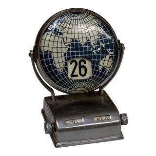 1960s Vintage Perpetual Flip Globe Desk Calendar
