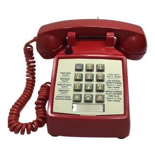 Vintage 1973 Red Hotel Push Button Telephone