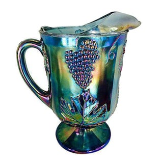 Blue Luster Carnival Glass Pitcher