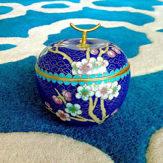 Cobalt Blue Chinese Cloisonné Apple Trinket Box - Image 2 of 3