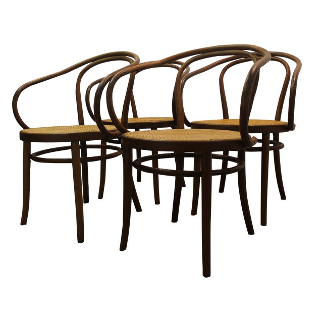 Image of Midcentury Modern Thonet B9 Caned Arm Chairs - S/4