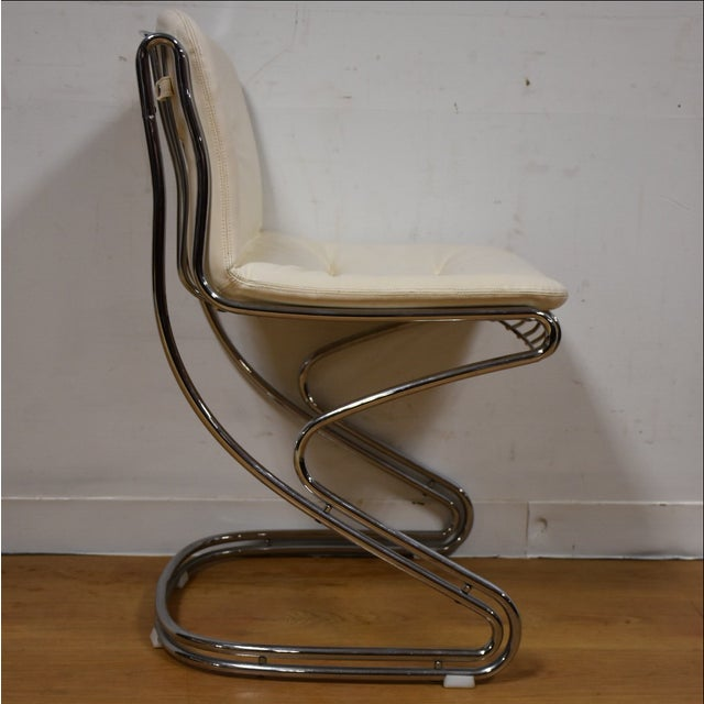Chrome and White Vinyl Vanity Chair | Chairish