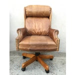 Image of Mid-Century Italian Leather Chairs - Pair