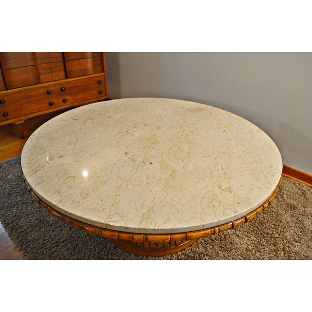 Mid Century Brass Marble Round Coffee Table: Mid-Century Weiman Round Marble Coffee Table