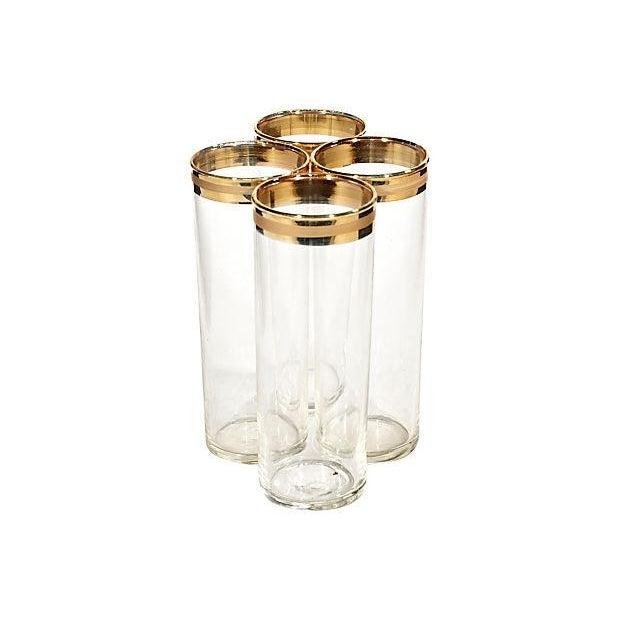 1970s Gold Rim Tom Collins Glasses - Set of 4 - Image 2 of 3