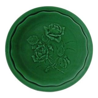 Sarreguemines Green Majolica Roses Plate