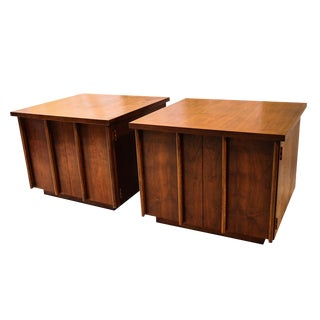 Mid Century Lane Walnut Nightstands Side Tables - a Pair