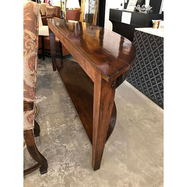 Rustic Wood Demilune Console - Image 5 of 5
