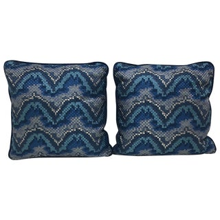 Robert Allen Blue Mosaic Pillows - Pair