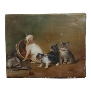 19th century Oil painting -3 Kitties & a Puppy mesmerized by bees -Signed
