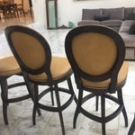 Image of Vintage Hobnail Ostrich Leather Bar Stools & Stool - Set of 5