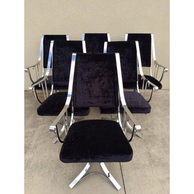 Mid-Century Chrome Swivel Chairs- Set of 6 - Image 2 of 11
