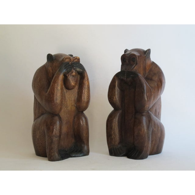 Wooden Monkeys - Pair - Image 5 of 8