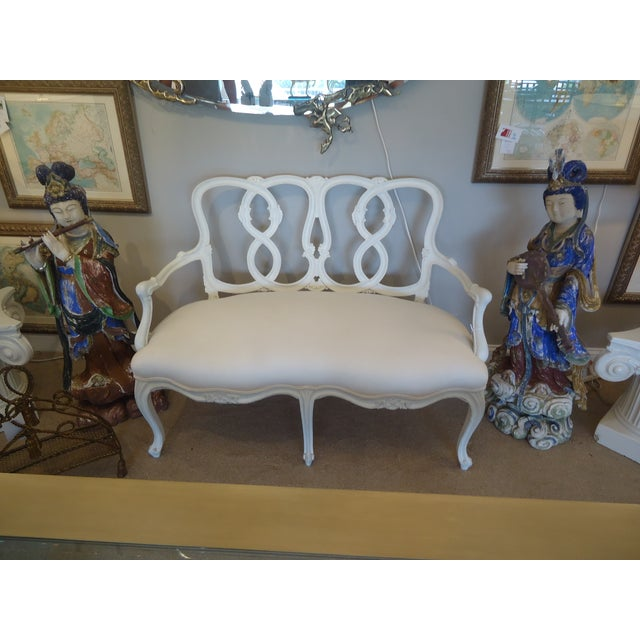 Vintage French Painted Carved Wood Loveseat - Image 2 of 4