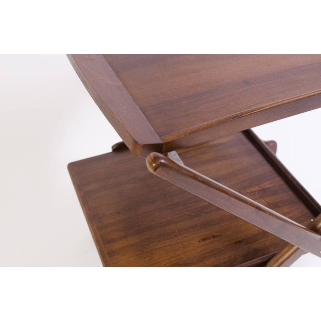 Danish Folding Walnut Bar Cart with Serving Tray - Image 10 of 10