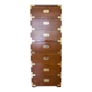 Campaign Style High Boy Lingerie Dresser with Locking Jewelry Drawer, Mid Century