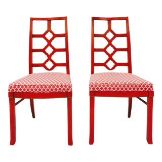 Mid-Century Modern Hollywood Regency Style Side Chairs - A Pair