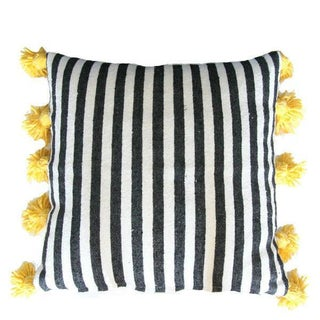 Striped Pom-Pom Pillow Cover