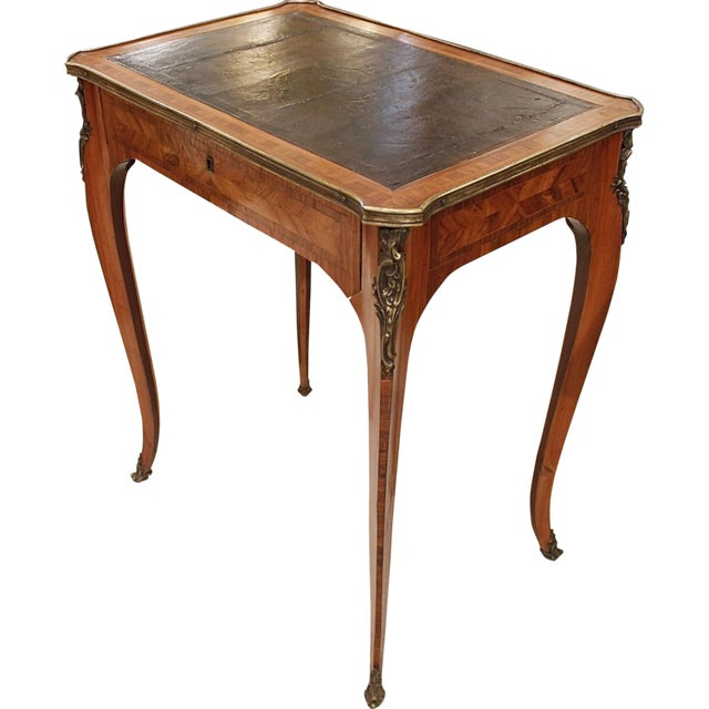French Louis XV Style Brass Bound Marquetry Occasional Table - Image 11 of 11