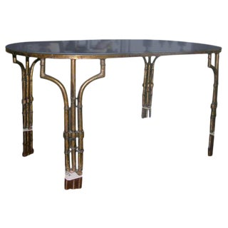 Mirror Top Faux Bamboo Iron Coffee Table