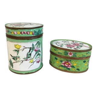 Antique Chinese Hand Painted Enamel Trinket Boxes -a Pair