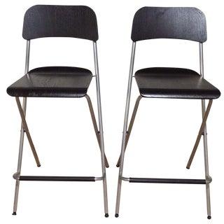 Black Modern Bar Stools - Pair
