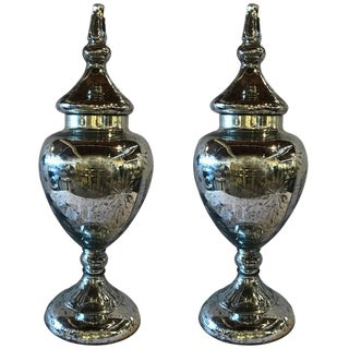 Hollywood Regency Mercury Glass Lidded Urns - A Pair