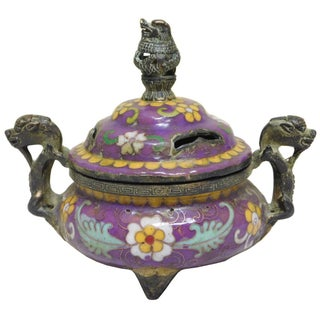 Chinese Metal Enamel Cloisonne Incense Burner