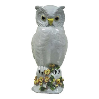 Vintage Italian Hollywood Regency Terra Cotta Owl Statue