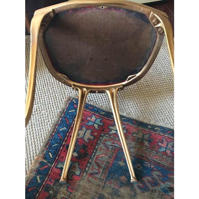 Vintage Hollywood Regency Gilt Metal Chair - Image 7 of 10