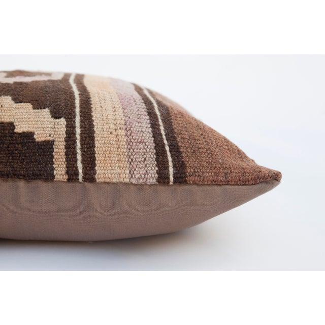 Vintage Turkish Brown Kilim Pillow - Image 3 of 3