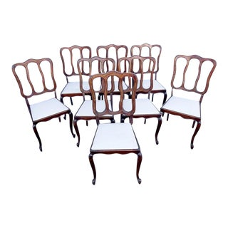Antique French Country Reupholstered Louis XV Dining Chairs - Set of 8