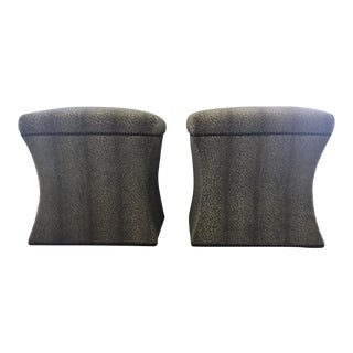 Speckled Gray Ottomans - A Pair