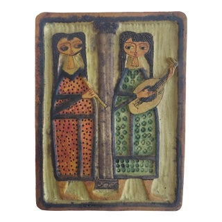 Signed Fantoni Italian Ceramic Hanging Tile
