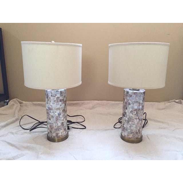 Image of Mother of Pearl Tile Base Table Lamps - A Pair