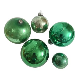 Vintage Emerald Green Christmas Ornaments - Set of 5