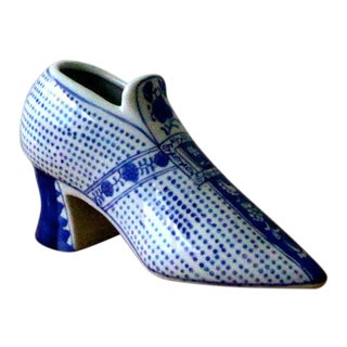 Vintage Blue & White Ceramic Shoe