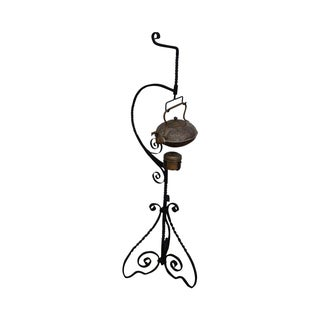19th Century Copper Kettle on Wrought Iron Stand
