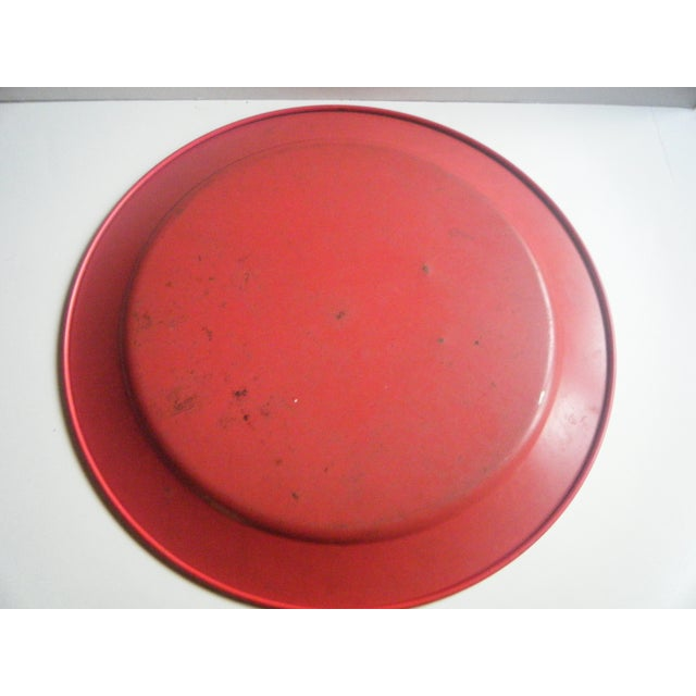 Vintage 1950s Red Metal Barbecue Platter Tray - Image 6 of 6