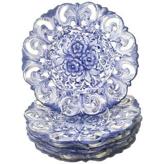 Vintage Portugal Vestal Alcobaca Blue & White Wall Plates - Set of Five