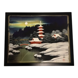 Framed Japanese Hand Painted Textile Art