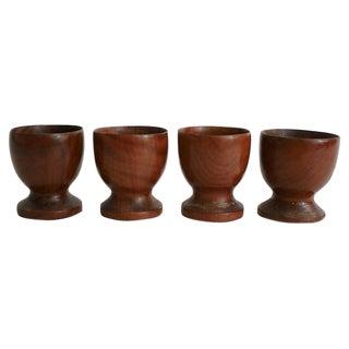Vintage Carved Wood Egg Cups - Set Of 4