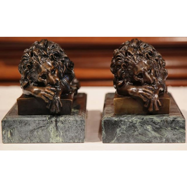 19th Century French Bronze Lions on Marble Bases Signed J. Moigniez - a Pair - Image 2 of 10